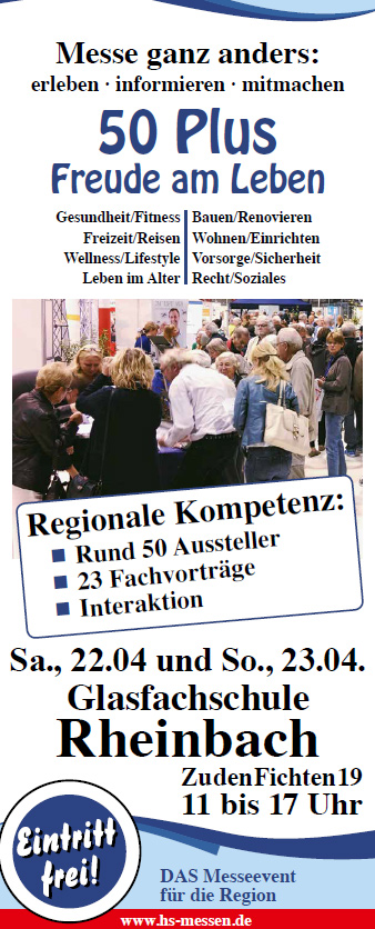 Messe 50 plus Rheinbach Informationsstand und Vortrag zu Erbschaft Steuer